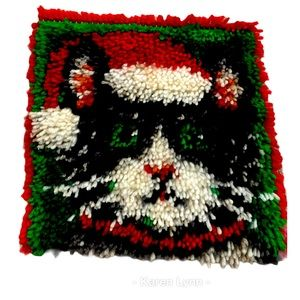Handmade latch hook completed black cat Santa